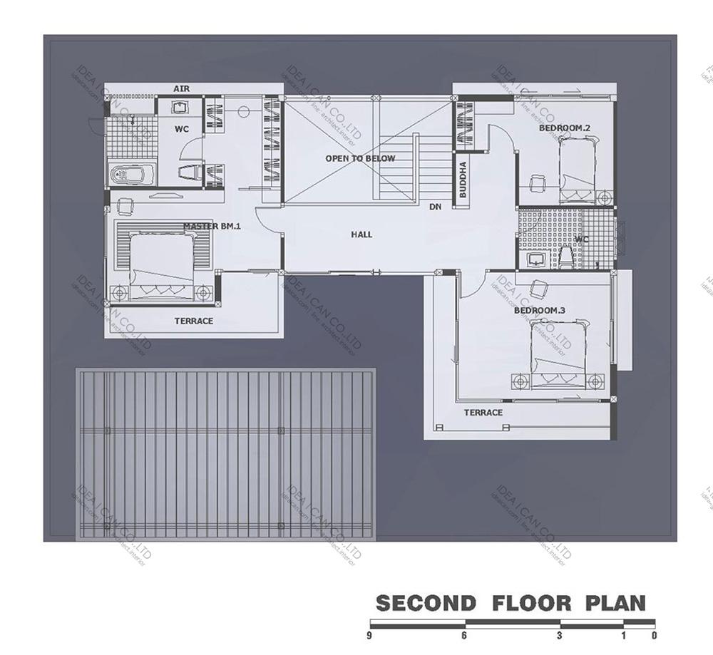 แบบบ้านสองชั้นสไตล์รีสอร์ท, แบบบ้าน 2 ชั้น, แบบบ้าน 4 ห้องนอน, ห้องน้ำสไตล์รีสอรท, พื้นที่ใช้สอย 300 ตร.ม., RE-H2-505.300, แบบบ้านสไตล์รีสอร์ท , รับเหมาก่อสร้าง, รับสร้างบ้าน, รับสร้างบ้านสองชั้น