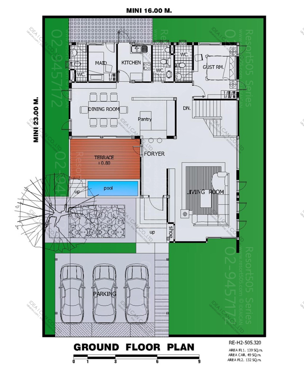 แบบบ้านสองชั้นสไตล์รีสอร์ท, แบบบ้าน 2 ชั้น, แบบบ้าน 4 ห้องนอน, ห้องน้ำสไตล์รีสอรท, พื้นที่ใช้สอย 320 ตร.ม., RE-H2-505.320, แบบบ้านสไตล์รีสอร์ท , รับเหมาก่อสร้าง, รับสร้างบ้าน, รับสร้างบ้านสองชั้น