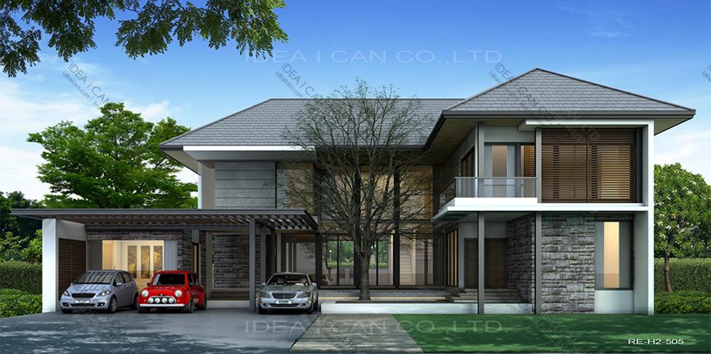 แบบบ้านสองชั้นสไตล์รีสอร์ท, แบบบ้าน 2 ชั้น, แบบบ้าน 4 ห้องนอน, ห้องน้ำสไตล์รีสอรท, พื้นที่ใช้สอย 389 ตร.ม., RE-H2-505.389, แบบบ้านสไตล์รีสอร์ท , รับเหมาก่อสร้าง, รับสร้างบ้าน, รับสร้างบ้านสองชั้น
