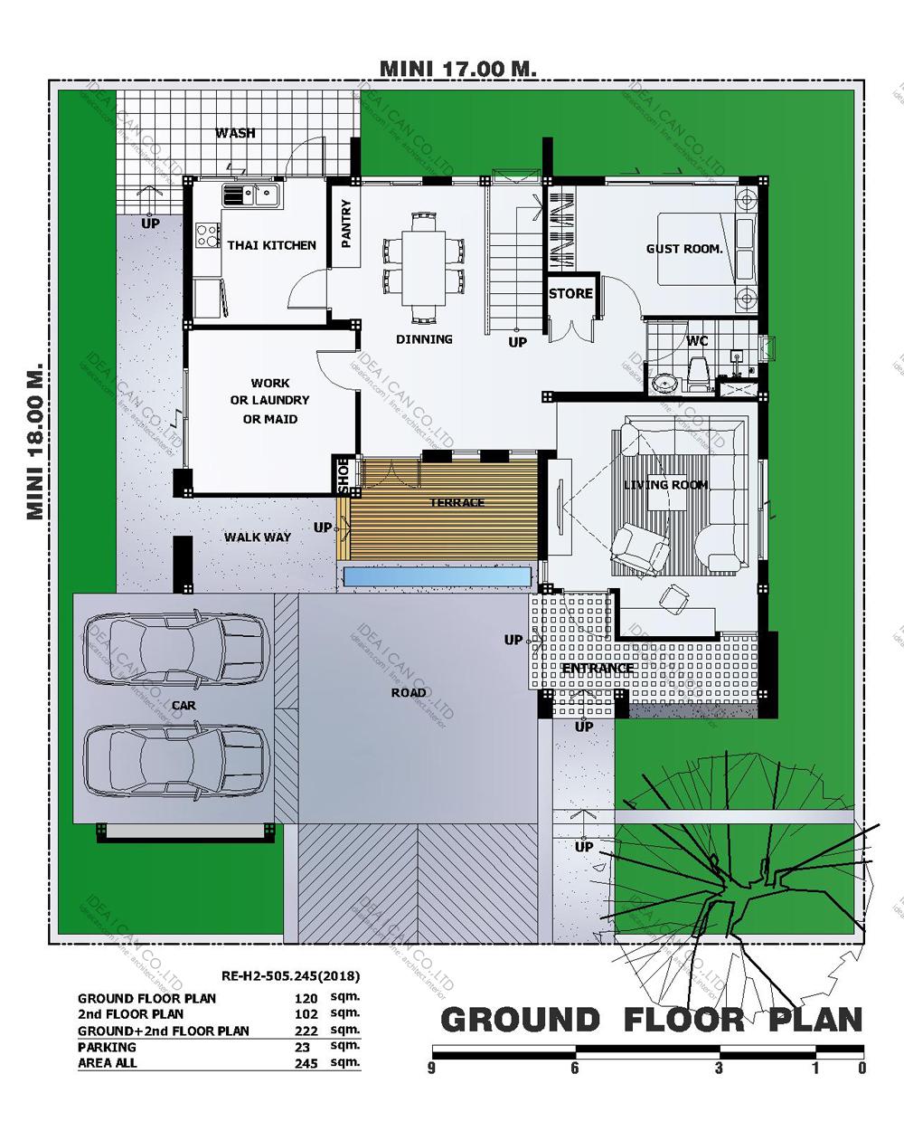 แบบบ้านสองชั้นสไตล์รีสอร์ท, แบบบ้าน 2 ชั้น, แบบบ้าน 4 ห้องนอน, ห้องน้ำสไตล์รีสอรท, พื้นที่ใช้สอย 245 ตร.ม., RE-H2-505.245(2018), แบบบ้านสไตล์รีสอร์ท , รับเหมาก่อสร้าง, รับสร้างบ้าน, รับสร้างบ้านสองชั้น