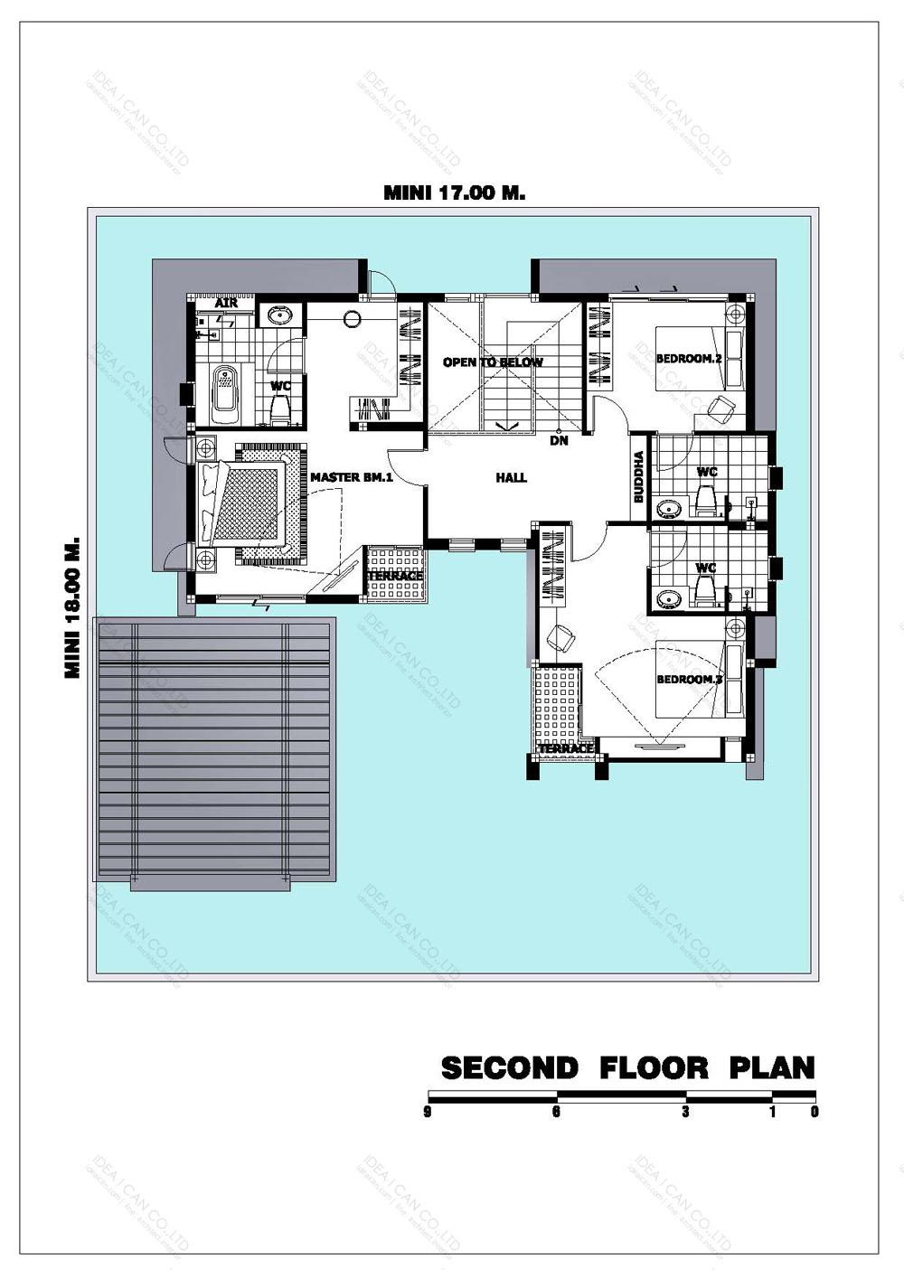 แบบบ้านสองชั้นสไตล์รีสอร์ท, แบบบ้าน 2 ชั้น, แบบบ้าน 4 ห้องนอน, ห้องน้ำสไตล์รีสอรท, พื้นที่ใช้สอย 265 ตร.ม., RE-H2-505.265(2018), แบบบ้านสไตล์รีสอร์ท , รับเหมาก่อสร้าง, รับสร้างบ้าน, รับสร้างบ้านสองชั้น