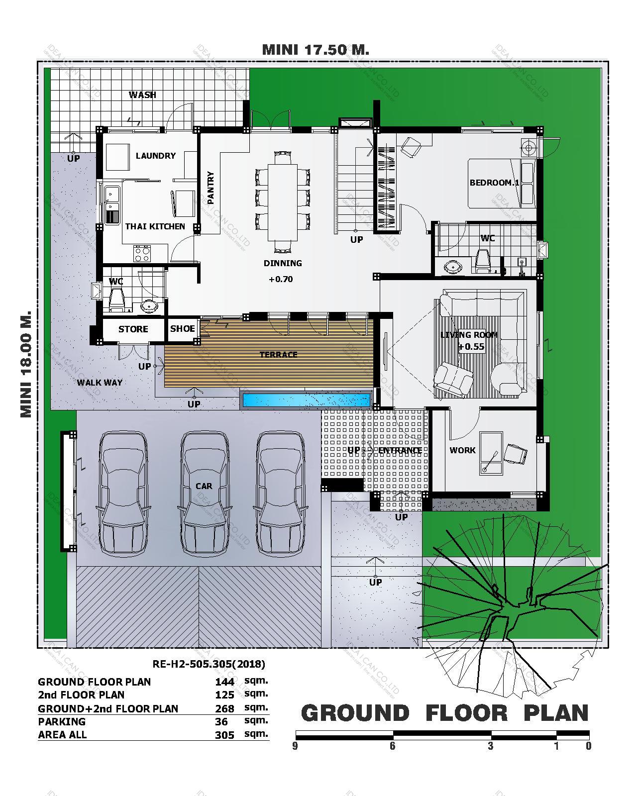 แบบบ้านสองชั้นสไตล์รีสอร์ท, แบบบ้าน 2 ชั้น, แบบบ้าน 4 ห้องนอน, ห้องน้ำสไตล์รีสอรท, พื้นที่ใช้สอย 305 ตร.ม., RE-H2-505.305(2018), แบบบ้านสไตล์รีสอร์ท , รับเหมาก่อสร้าง, รับสร้างบ้าน, รับสร้างบ้านสองชั้น