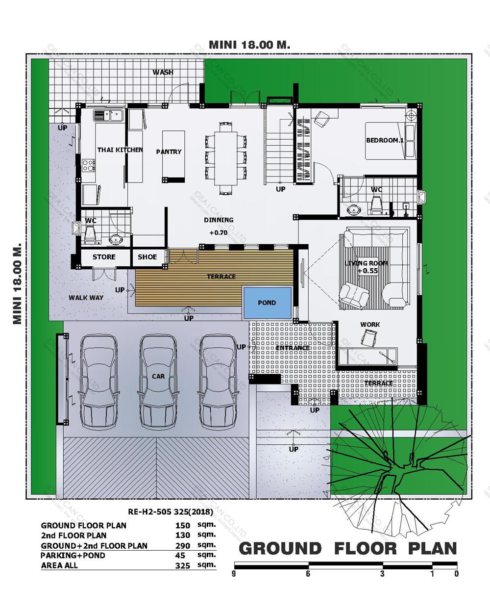 แบบบ้านสองชั้นสไตล์รีสอร์ท, แบบบ้าน 2 ชั้น, แบบบ้าน 4 ห้องนอน, ห้องน้ำสไตล์รีสอรท, พื้นที่ใช้สอย 325 ตร.ม., RE-H2-505.325(2018), แบบบ้านสไตล์รีสอร์ท , รับเหมาก่อสร้าง, รับสร้างบ้าน, รับสร้างบ้านสองชั้น