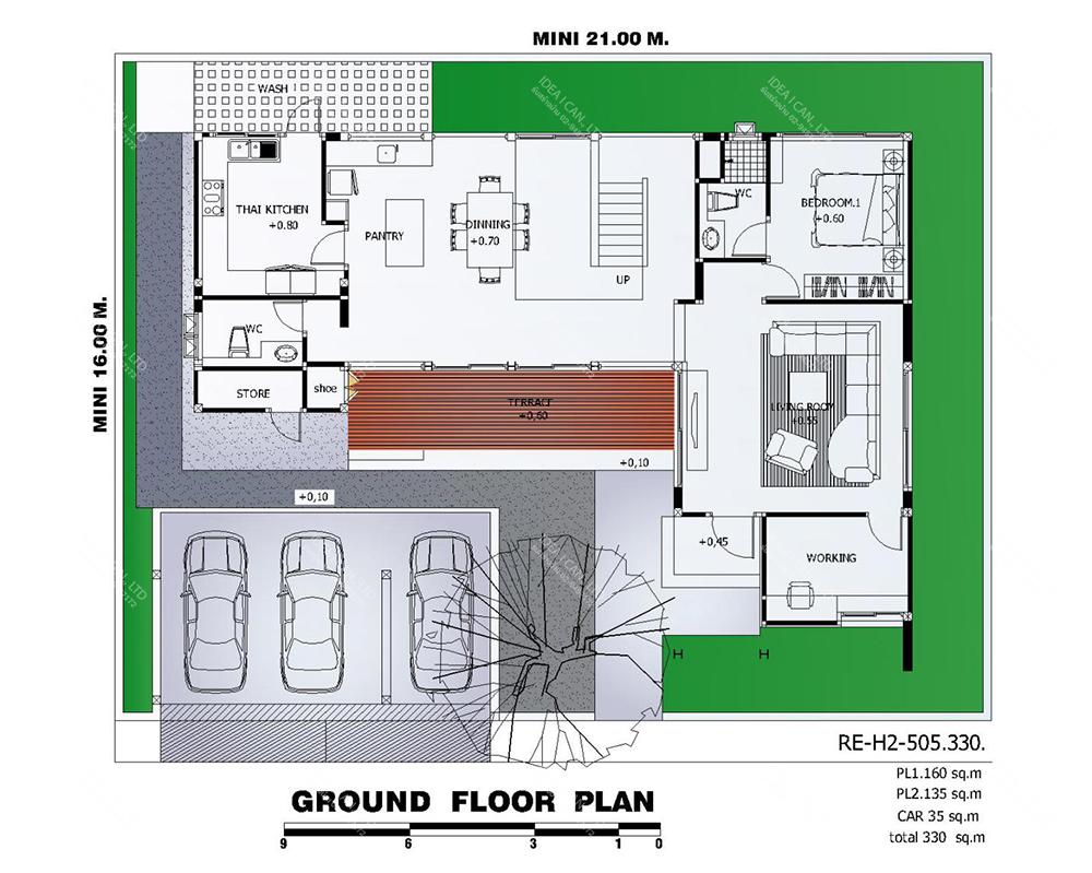 แบบบ้านสองชั้นสไตล์รีสอร์ท, แบบบ้าน 2 ชั้น, แบบบ้าน 4 ห้องนอน, ห้องน้ำสไตล์รีสอรท, พื้นที่ใช้สอย 330 ตร.ม., RE-H2-505.330, แบบบ้านสไตล์รีสอร์ท , รับเหมาก่อสร้าง, รับสร้างบ้าน, รับสร้างบ้านสองชั้น
