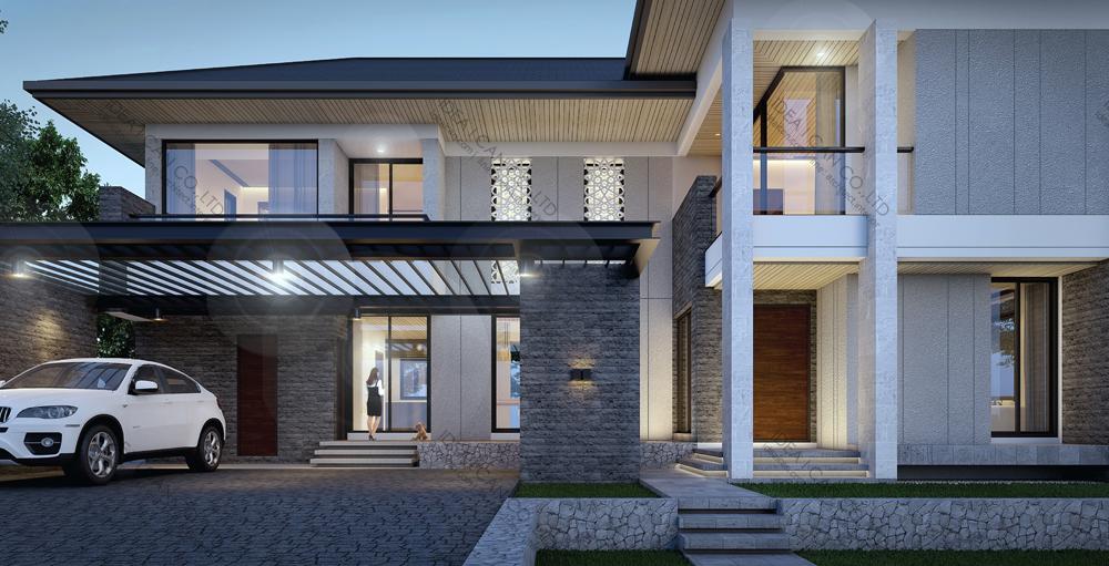 แบบบ้านสองชั้นสไตล์รีสอร์ท, แบบบ้าน 2 ชั้น, แบบบ้าน 4 ห้องนอน, ห้องน้ำสไตล์รีสอรท, พื้นที่ใช้สอย 350 ตร.ม., RE-H2-505.350(2018), แบบบ้านสไตล์รีสอร์ท , รับเหมาก่อสร้าง, รับสร้างบ้าน, รับสร้างบ้านสองชั้น