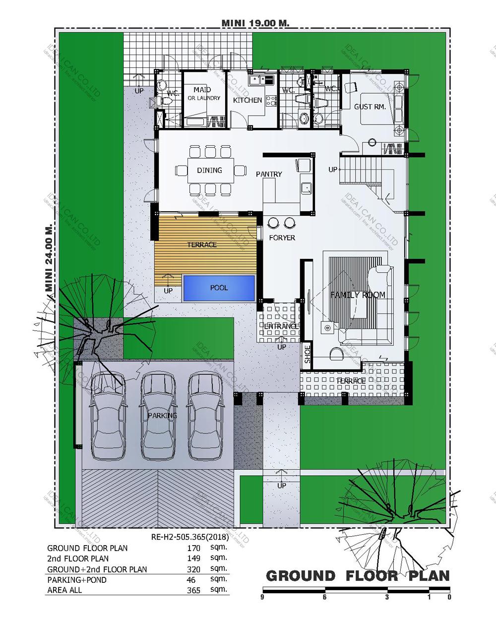 แบบบ้านสองชั้นสไตล์รีสอร์ท, แบบบ้าน 2 ชั้น, แบบบ้าน 4 ห้องนอน, ห้องน้ำสไตล์รีสอรท, พื้นที่ใช้สอย 365 ตร.ม., RE-H2-505.365(2018), แบบบ้านสไตล์รีสอร์ท , รับเหมาก่อสร้าง, รับสร้างบ้าน, รับสร้างบ้านสองชั้น