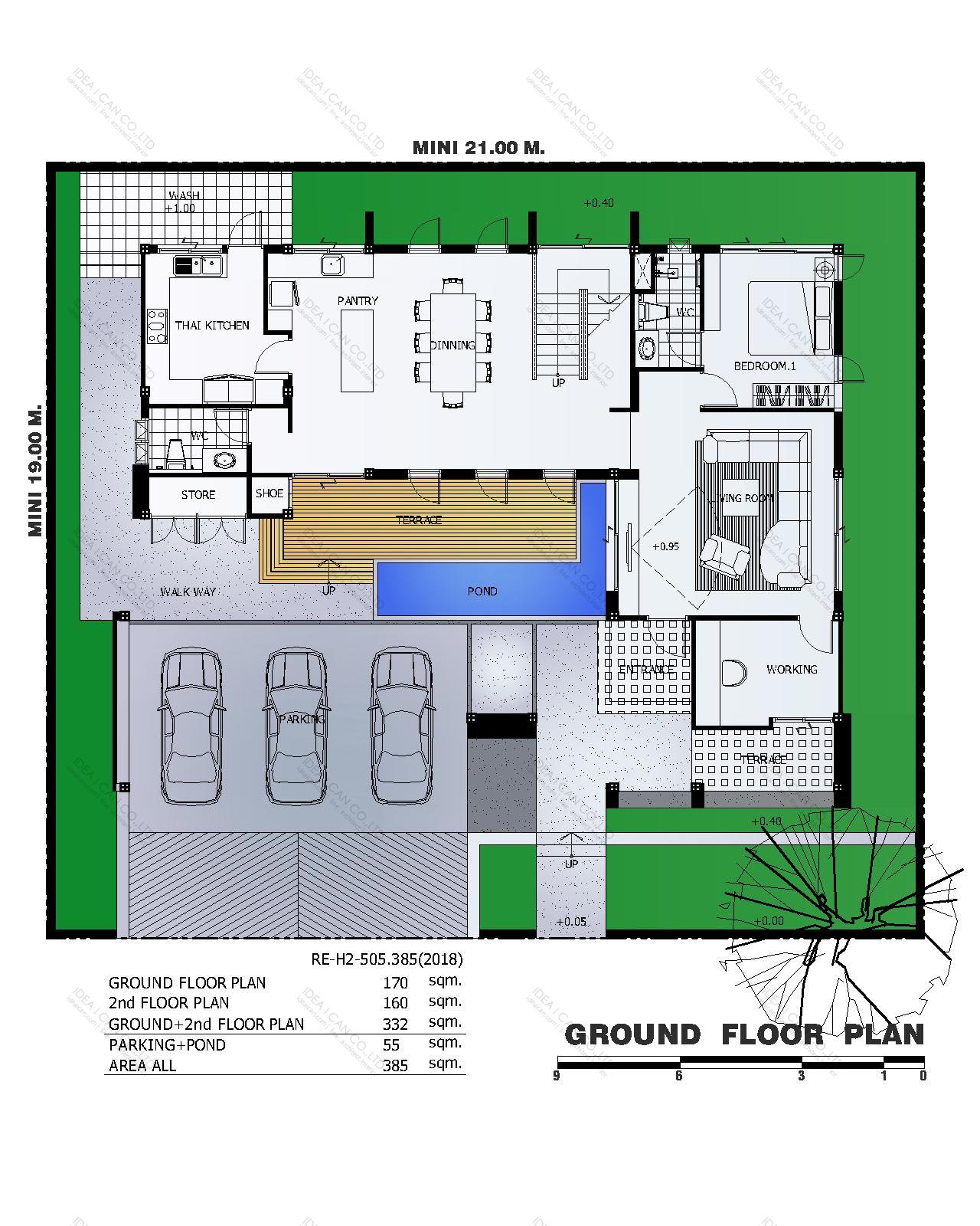 แบบบ้านสองชั้นสไตล์รีสอร์ท, แบบบ้าน 2 ชั้น, แบบบ้าน 4 ห้องนอน, ห้องน้ำสไตล์รีสอรท, พื้นที่ใช้สอย 385 ตร.ม., RE-H2-505.385(2018), แบบบ้านสไตล์รีสอร์ท , รับเหมาก่อสร้าง, รับสร้างบ้าน, รับสร้างบ้านสองชั้น