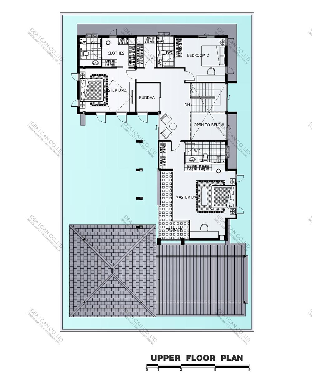แบบบ้านสองชั้นสไตล์รีสอร์ท, แบบบ้าน 2 ชั้น, แบบบ้าน 4 ห้องนอน, ห้องน้ำสไตล์รีสอรท, พื้นที่ใช้สอย 435 ตร.ม., RE-H2-505.435(2018), แบบบ้านสไตล์รีสอร์ท , รับเหมาก่อสร้าง, รับสร้างบ้าน, รับสร้างบ้านสองชั้น