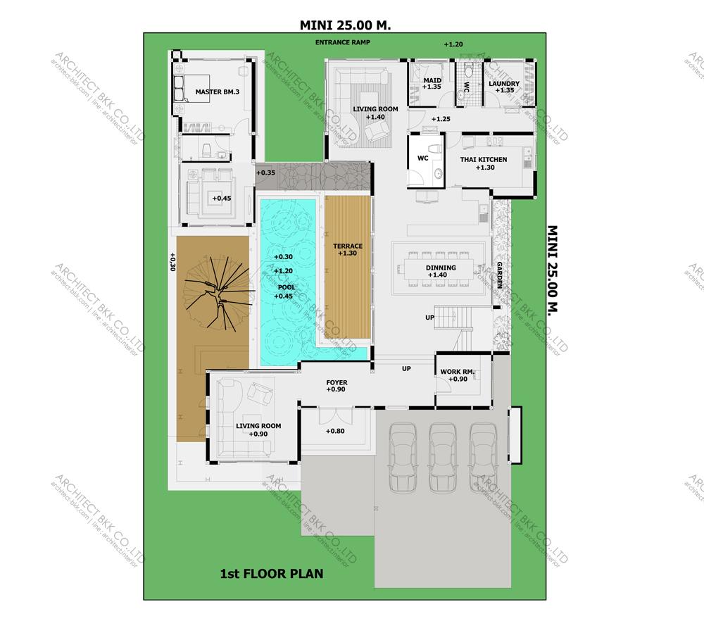 แบบบ้านสองชั้นสไตล์รีสอร์ท, แบบบ้าน 2 ชั้น, แบบบ้าน 6 ห้องนอน, ห้องน้ำสไตล์รีสอรท, พื้นที่ใช้สอย 670 ตร.ม., RE-H2-505.670, แบบบ้านสไตล์รีสอร์ท , รับเหมาก่อสร้าง, รับสร้างบ้าน, รับสร้างบ้านสองชั้น